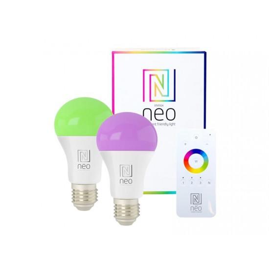 Múdra WiFi žiarovka LED E27 9W RGBW IMMAX NEO 07115BD 2ks + diaľkový ovládač