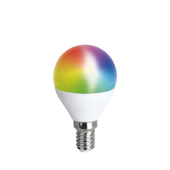 Múdra WiFi žiarovka LED miniglobe E14 5W RGB SOLIGHT WZ432