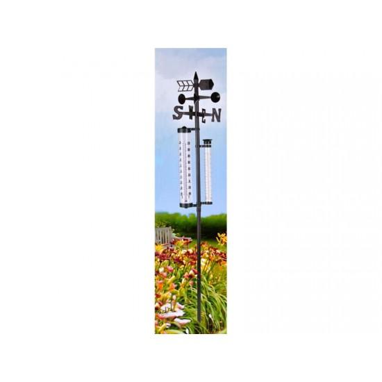 Záhradný analogový teplomer, zrážkomer a ukazateľ smeru vetra