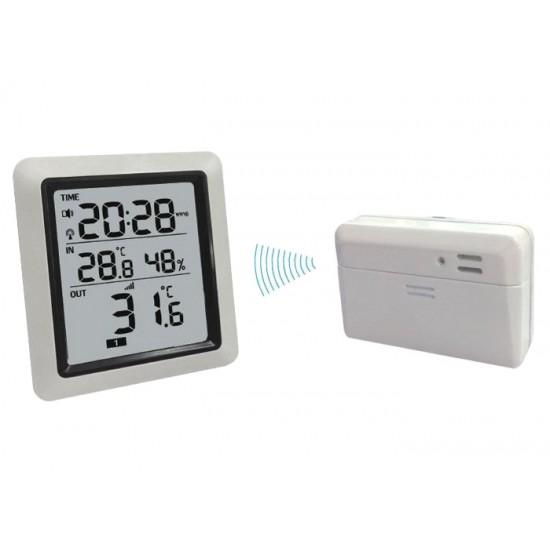 Teplomer bezdrôtový IN/OUT + vlhkomer + hodiny WH0280