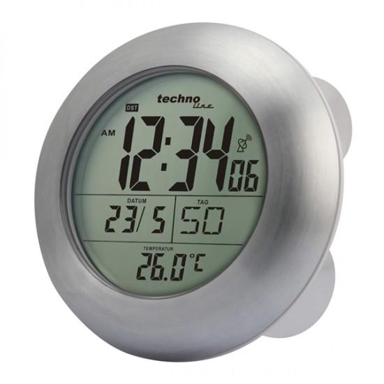 Digitálne hodiny DCF do kúpeľne WT 3000, strieborné