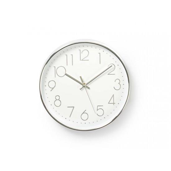 Hodiny analógové NEDIS biele/strieborné CLWA015PC30SR 30 cm