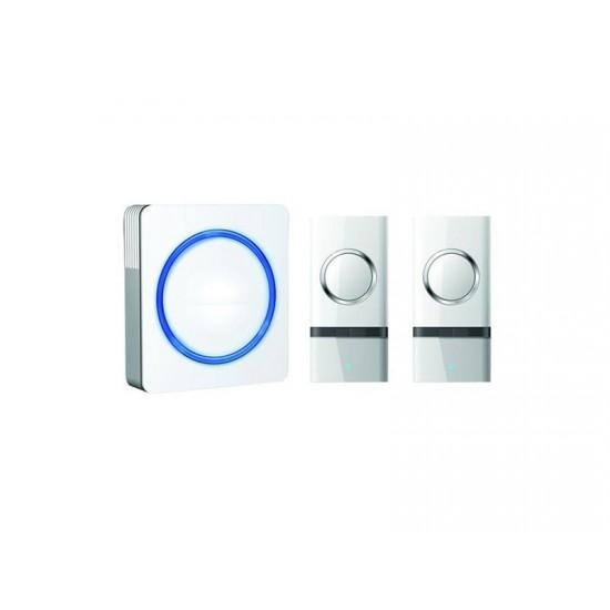 Zvonček domový bezdrôtový 1L22, 2 tlačidlá, do zásuvky, 120m, biely