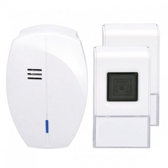Zvonček domový bezdrôtový 1L56DT, 2 tlačidlá, do zásuvky, 120m, biely