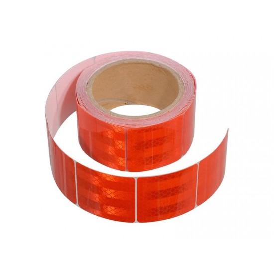 Samolepiaca páska reflexná delená 5m x 5cm červená (rolka 5m)