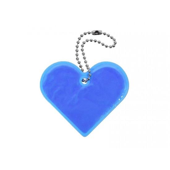 Reflexný prívesok SRDCE modrý