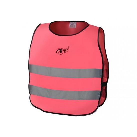 Reflexná výstražná vesta detská ružová S.O.R. EN 1150:1999