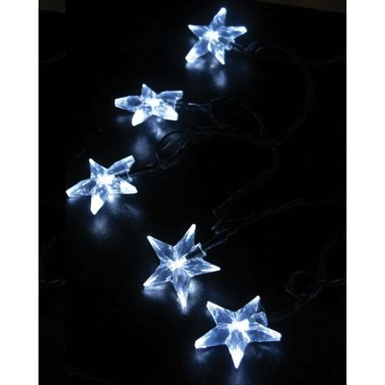 Reťaz vianočná s hviezdami 20LED 1V30-W biela