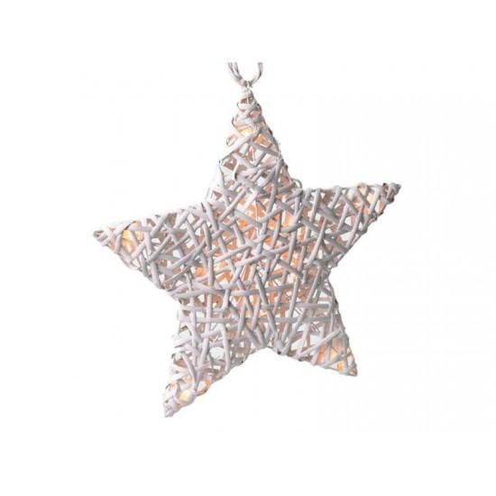 Ratanová LED hviezda biela