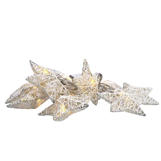 Reťaz vianočné hviezdy biele prepletané SOLIGHT 1V203