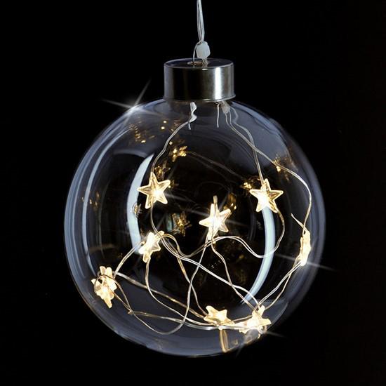 Vianočná sklenená LED guľa SOLIGHT 1V204