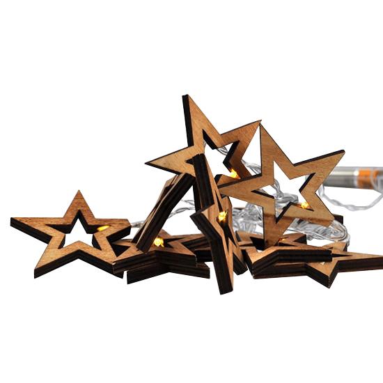 Vianočné drevené hviezdy LED SOLIGHT 1V205