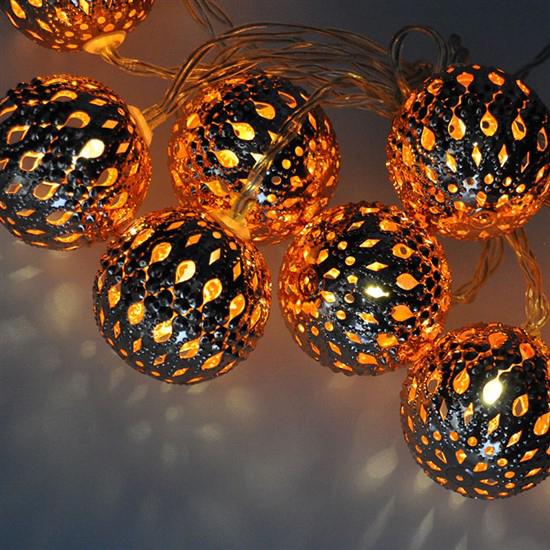 Reťaz vianočné gule medené 10LED SOLIGHT 1V207-C