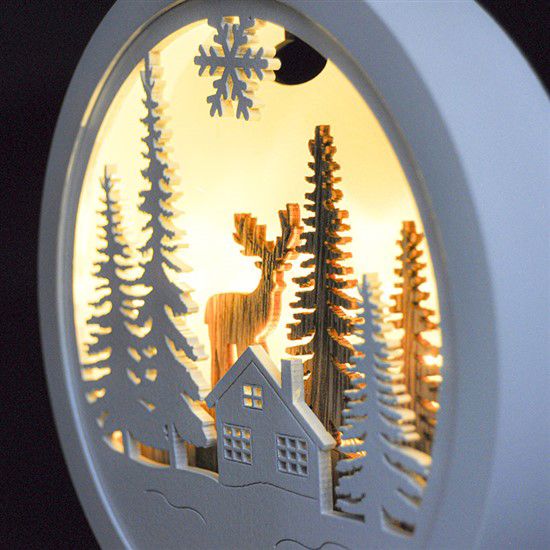 Drevená LED zimná krajinka s jeleňom 1V223-A
