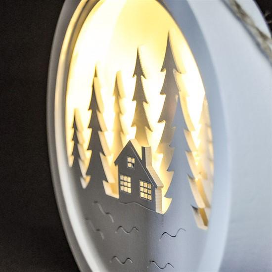 Drevená LED zimná krajinka 1V223-B