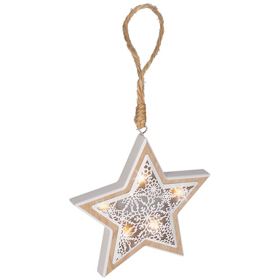 Drevená LED hviezda, 6LED, teplá biela