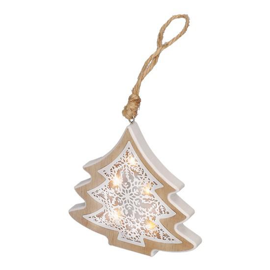 Drevený LED stromček, 6LED, teplá biela