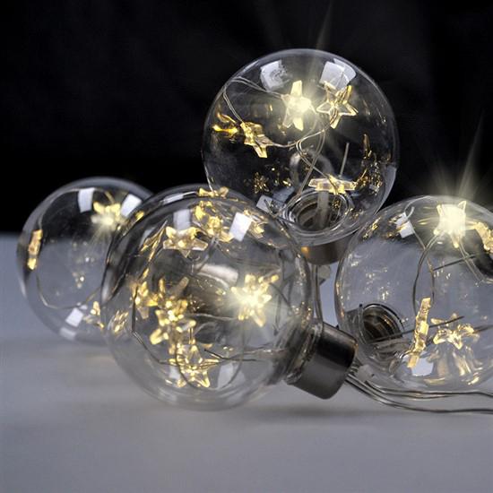 Vianočné LED gule so svietiacimi hviezdami 1V228 sada 6ks