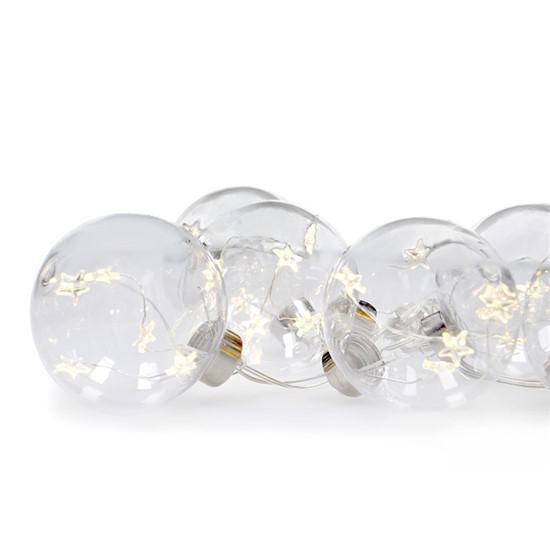 Vianočné LED gule so svietiacimi hviezdami 1V229 sada 6ks