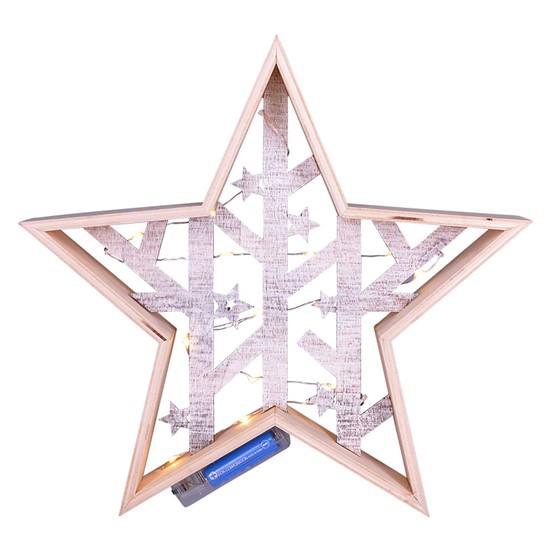 Vianočná drevená hviezda SOLIGHT 1V231