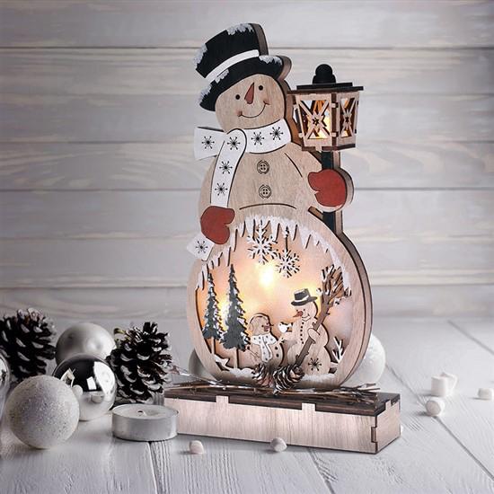 Drevený vianočný snehuliak SOLIGHT 1V233