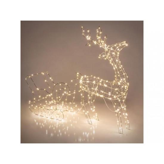 Dekorácia vianočný sob so saňami RETLUX RXL 311 WW
